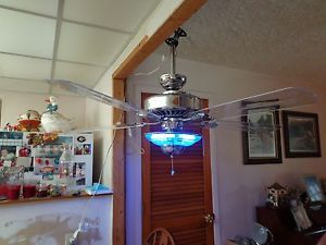 "60"" Chrome Hampton Bay 5 ACYLIC Blade Ceiling Fan with Blue Neon Light"
