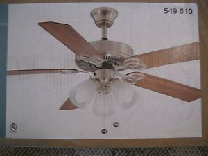 Hampton Bay 52 inch Brushed Nickel Brookhurst Ceiling Fan Frost Glass Rev Blades