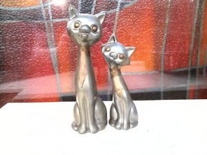 Vintage Pewter Cat Figurines