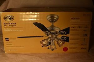 Hampton Bay Island 36 in Ceiling Fan Used San Marino Rosewood Black 5 Blades