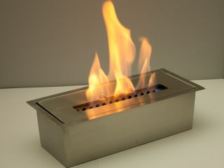 "Ethanol Burner Fireplace Insert 1 5 L Double Layer Stainless Steel 12"" Long"