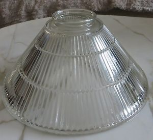 Vintage Glass Ribbed Torchiere Floor Lamp Shade