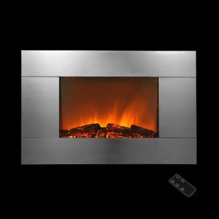 "Electric Wall Mount Fireplace 36"" Glass w Remote Control Heater BHI 540GC"