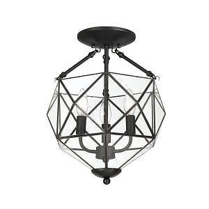 Hampton Bay Grayton 3 Light Semi Flush Mount Black with Faceted Glass Finish