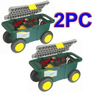 "2 x 20"" Portable Garden Tool Box with Wheels Storage Toolbox Chest Seat New"