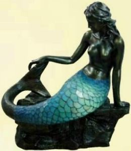 Large Art Deco Bronze Mermaid Tiffany Floor Standing Lamp Light Body Lights Up