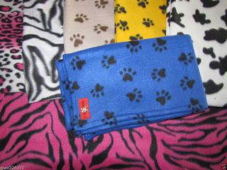 New Fleece Dog Cat Animal Paw Print Bed Blanket Mat Pick Color Size