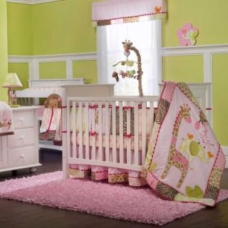 Pink Jungle Animal Print Baby Girl Nursery 4P Crib Bedding Set w Giraffe Zebra