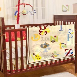 Colorful ABC's Animal Print Neutral 5pc Baby Boys Girls Nursery Crib Bedding Set