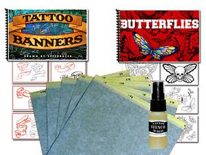 Tattoo Supplies Flash Art Butterflies Banners Book Transfer Paper Stencil Magic