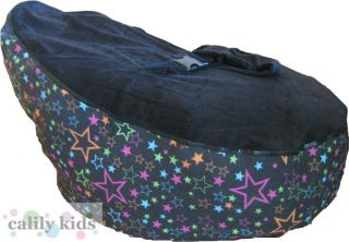Baby Toddler Kids Portable Bean Bag Seat Snuggle Bed Black Star Black