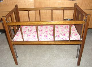 Vintage Baby Doll Crib Play Kids Toy Furniture Wood Wooden Childrens