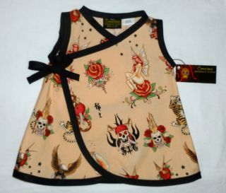 New Rockabilly Tattoo Punk Skull Fairy Wrap Toddler Baby Girl Dress Kid Clothes