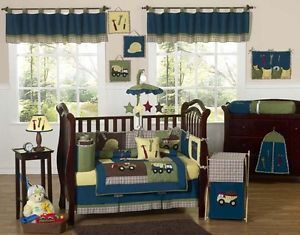 Luxury Unique Designer Blue Construction Baby Boy Crib Bedding Set for A Newborn
