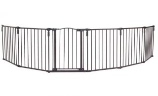 Baby Pet Safety Gate Play Yard Fence Metal Six Panels w Door Fast SHIP New