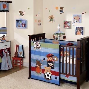 Wee Rascals Bear Sports 5 PC Crib Bedding Set Blue Baby Boys by Lambs Ivy