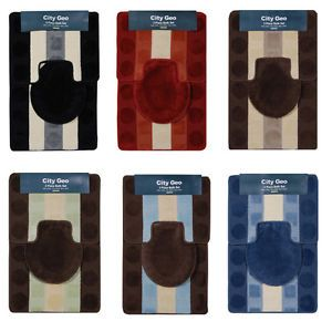 Modern Circles Stripes 3 Piece Bathroom Shower Ensemble Bath Rug Mat Contour Set