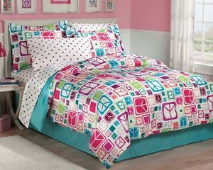New Teen Girls Peace Signs Teal Twin Full Bedding Comforter Sheet Set Bedskirt