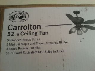 Hampton Bay Carrolton 52 inch Ceiling Fan with Light Kit Oil Rubbed Bronze