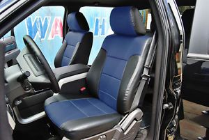 Ford F 150 2009 2013 Black Blue s Leather Custom Fit Front Seat Cover