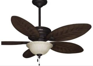 "Hunter Grand Cayman 54"" Indoor Outdoor Tropical Ceiling Fan w Light Kit Bronze"