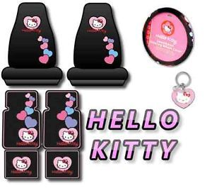 Hello Kitty 8PC Car Interior Set Seat Covers Floor Mats Pink Hearts