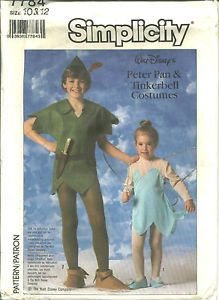 S 7784 Sewing Pattern Disney Peter Pan Tinkerbell Costume Child's Sizes 10 12