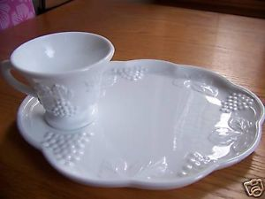 Milk Glass Snack Plates Cups Indiana Harvest Grapes