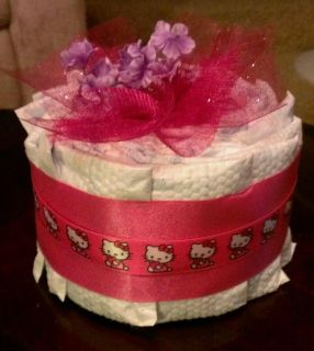Pink Mini Diaper Cake aka Girl Baby Shower Centerpiece
