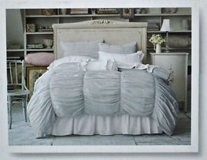 Rachel Ashwell Simply Shabby Chic Gray Jersey Knit Ruched Smocked Duvet Set New