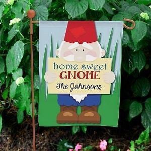 Personalized Home Sweet Gnome Garden Flag Family Name Gnome Garden Yard Flag