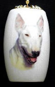 Decorative White Bull Terrier Dog Porcelain Light or Fan Pull