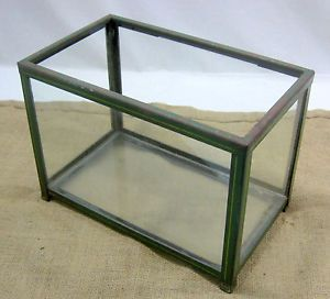 Antique Aquarium Fish Tank Terrarium Metal Footed Glass Sides Bottom Vintage