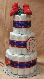 3 Tier Diaper Cake MLB Boston Red Sox Baseball Baby Shower Centerpiece