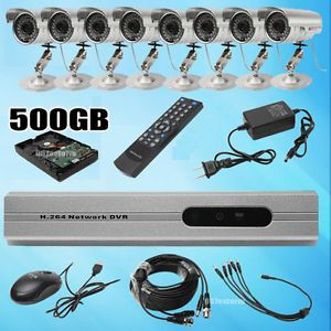 8 Channel Security CCTV DVR System with 4X Indoor Outdoor Camera Kit 500GB HDD