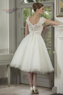 2014 Cap Sleeve Tea Length Vintage Lace Wedding Dresses Bridal Gown Custom Size