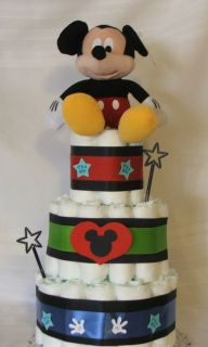 3 Tier Diaper Cake It's A Boy Disney Mickey Mouse Baby Shower Centerpiece
