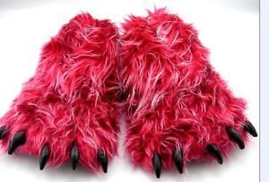 Monster Long Hair Red Big Foot Bear Animal Plush Claw Paw Slippers Adult