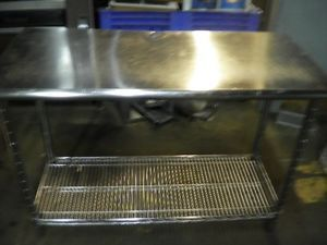 4ft Long 2ft Wide Stainless Steel Table w Shelving Rack Underneath 4ft Long 1FTW