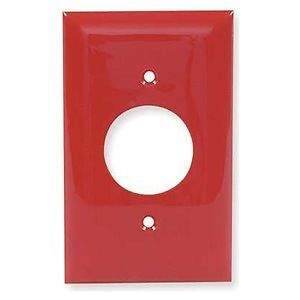 "25 Hubbell Wall Plate 1 4""""Red Single Gang Round Hole Outlet Cover 110V 22OV"