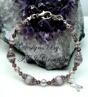 Light Purple Swarovski Beads Hope Ribbon Awareness Jewelry Bracelet Support Gift