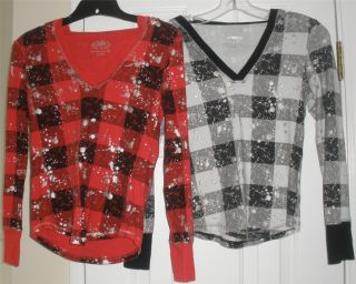 Girls Justice Red Black White Silver Plaid Long Sleeve Hoodie Shirt Knit Top 14