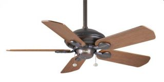 "Casablanca 50"" Outdoor Ceiling Fan Brushed Cocoa Dark Walnut Blades HR 77546D"