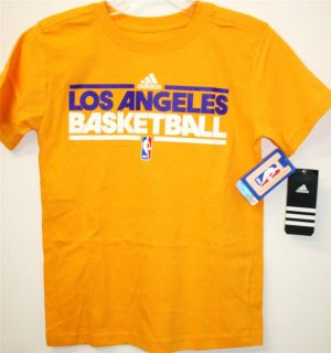 Adidas Los Angeles Lakers NBA Playoffs Basketball Youth Tee T Shirt Fast SHIP