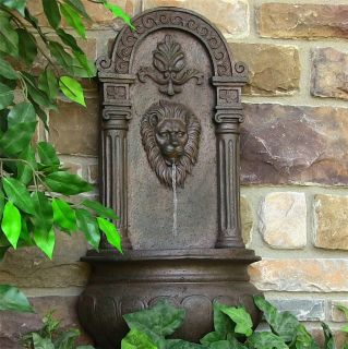 Leo Wall Water Fountain Electric Outdoor Courtyard Patio Rustic Finish Lion Head