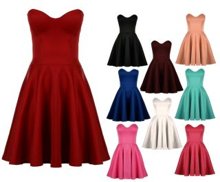 Womens Ladies Party Boobtube Strapless Skater Prom Dress UK 8 14