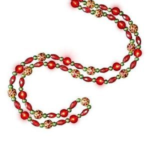 New Red Pre Lite LED Lighted Bead String Garland 8 Feet Long Christmas Decor