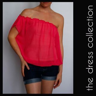 New Womens Ladies Sexy Off One Shoulder Pink Summer Chiffon Top Size s 8 16 L