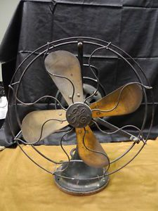 "Antique General Electric Fan 4 Brass Blades Cage 13 1 2"" Across Number F139644"