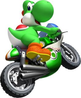 Choose Size Yoshi on Bike Kart Super Mario Decal Removable Wall Sticker Decor
